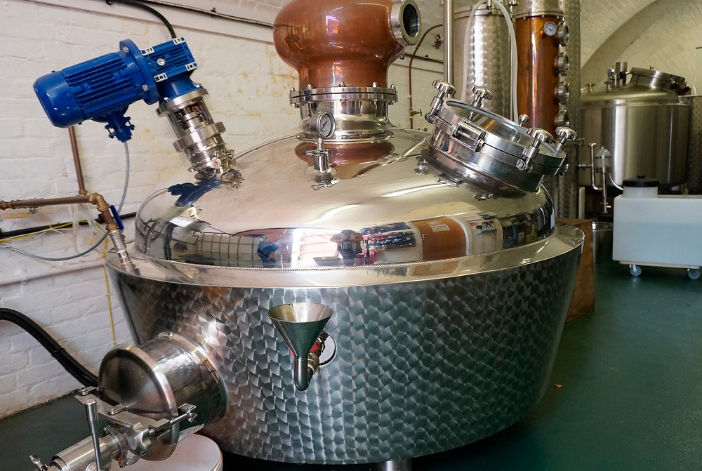 copper still, equipment used for distilling spirits