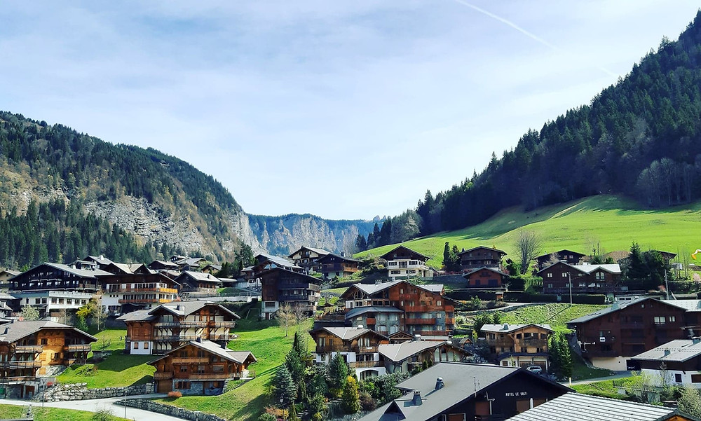 Alpine Morzine mountain village in spring time