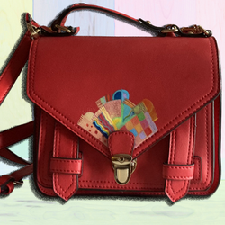 Hand painted Red Satchel