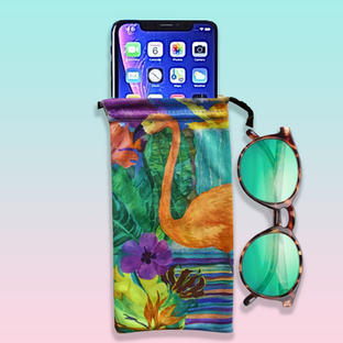 Flamingo Microfibre Pouch for glasses or