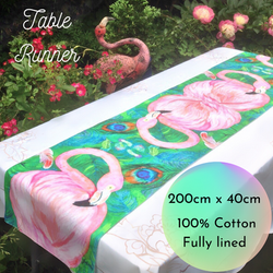 Flamingo Feathers Table Runner