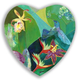 Hummingbird and Flowers Heart