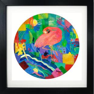 Patchwork Flamingo framed print