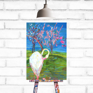 Flamingo Blossom on easel