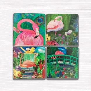 Flamingo Coasters set of Four