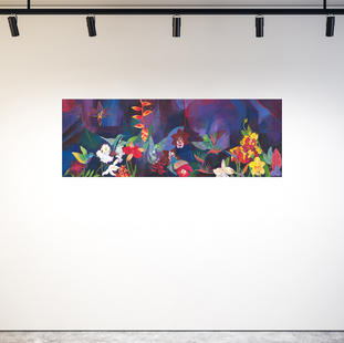 Hummingbird Carnival on gallery wall.