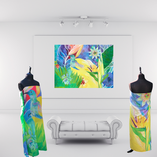 Sarongs and Painting of 'Flight of Fancy