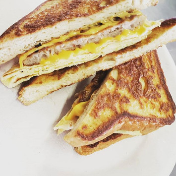 Stuffed French Toast, egg meat and chees