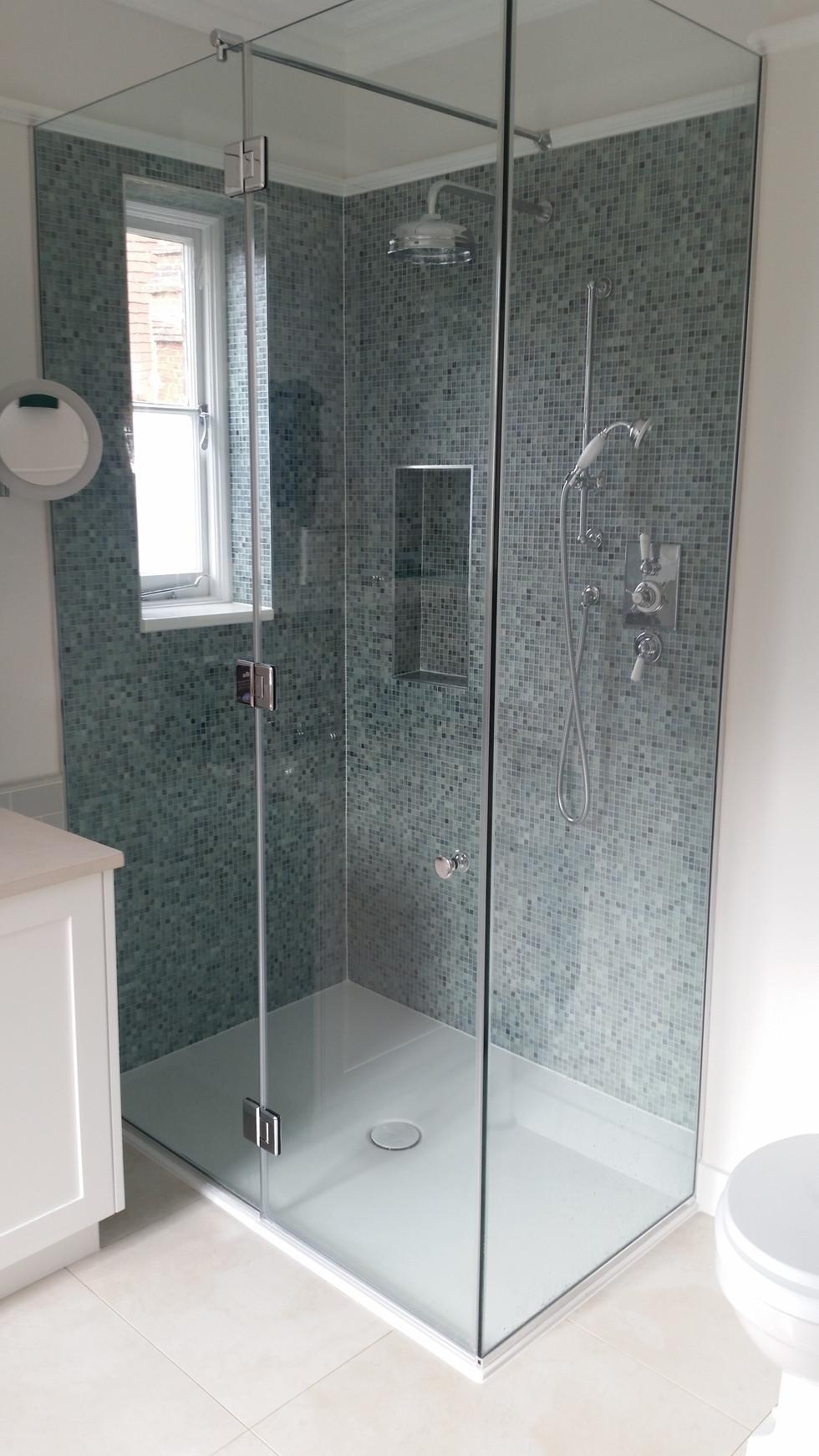 Glass Mosaic Walk-in Shower