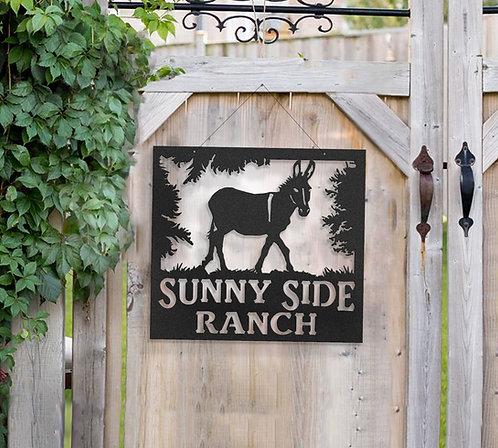Donkey Metal Farm Sign