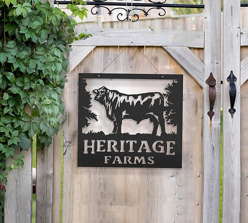 Bull Metal Farm Sign