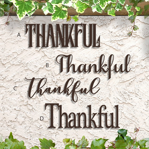 Thankful Wall Decor, Metal Thankful Sign