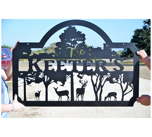 Custom Last name sign with deer and trees, Wildlife Metal Art