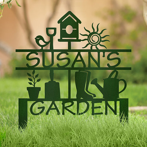 Garden Decoration Metal Sign with Stakes