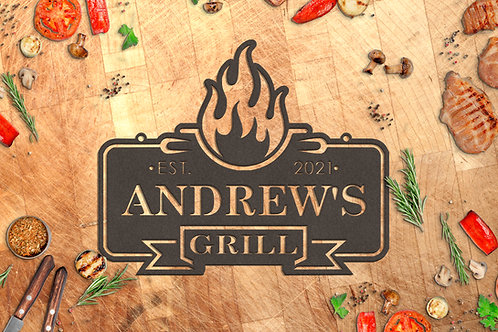 Personalized Custom Metal BBQ Sign, Outdoor Kitchen Décor
