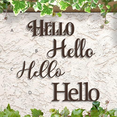 Hello Word Sign, Metal Script Sign