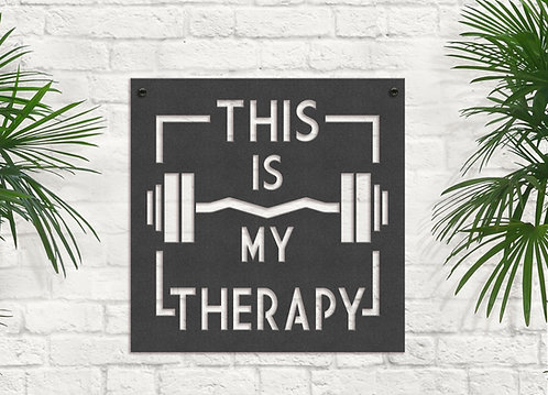 Metal Gym Quote Sign, This is my Therapy Weight Lifting Wall Art