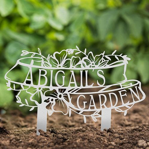 Custom Name Metal Garden Stake Sign, Garden Memorial Sign