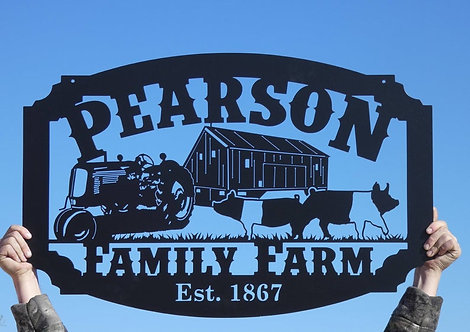 Custom Farm Sign with Tractor and Pigs
