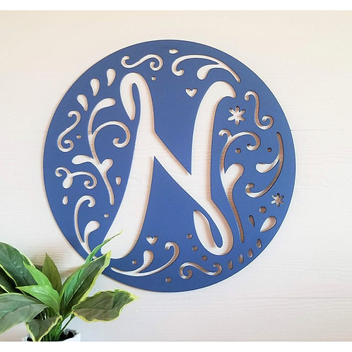 Single Letter Cutout  Decorative Circle Border Monogram ~ You Choose The Letter