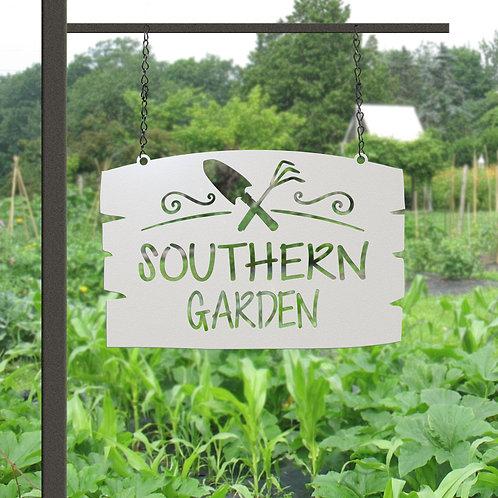 Gift for Gardener, Hanging Metal Custom Garden Sign