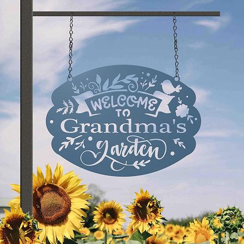 Grandmas Garden Hanging Metal Sign, Gift for Grandma