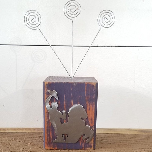 Tarleton State University Wood block Picture Holder With Texan Rider