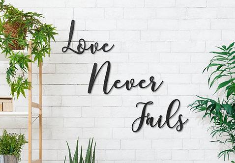 Metal Script Words, Love Never Fails Wall Decorations