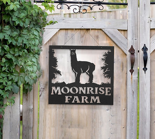 Alpaca Metal Farm Sign