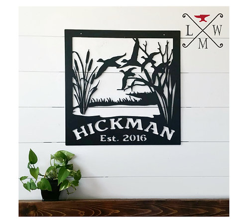 Decorative Metal Duck Hunting Sign LMW-16-04, Wildlife Metal Art