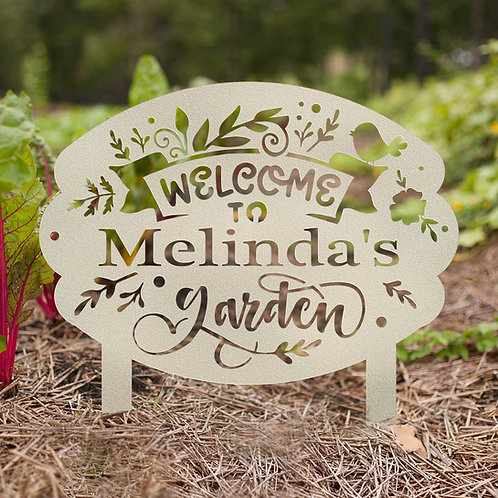 Personalized Welcome to the Garden Metal Sign