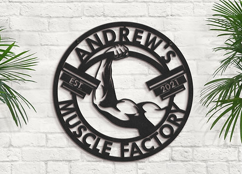 Personalized Muscle Factory Sign, Metal Gym Decorations