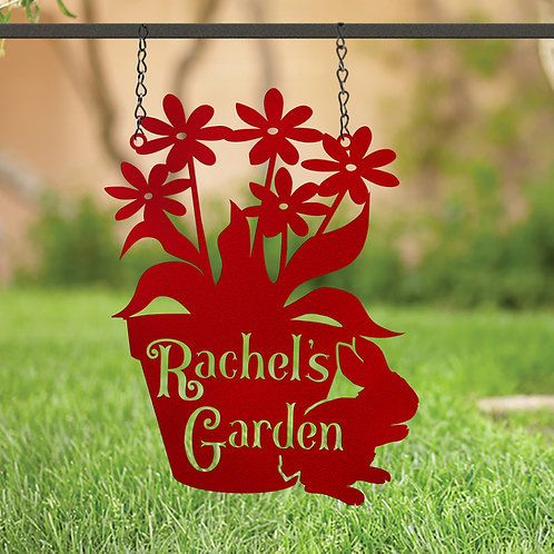 Flower and Bunny Hanging Garden Sign, Gift for Gardener