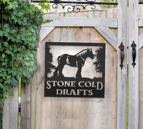 Draft Horse Metal Farm Sign