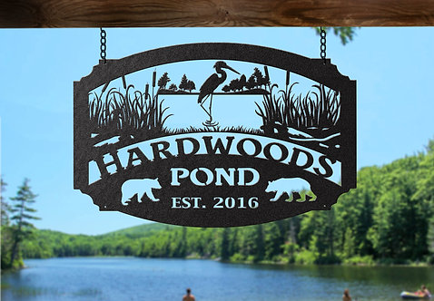 Custom Steel Pond Sign, Personalized Lake Sign