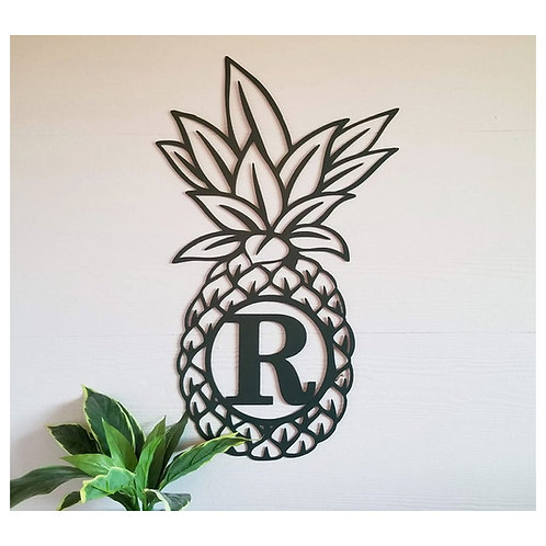 Pineapple Single Letter Metal Monogram Initial Sign For Door