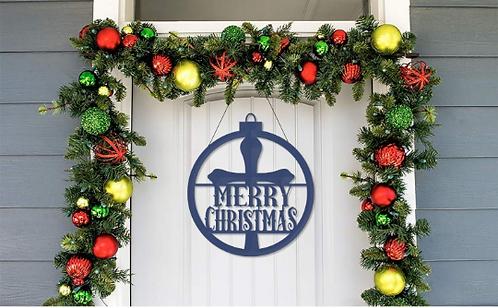 Ornament Framed Cross Merry Christmas   Christmas  Door Sign