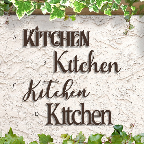 Kitchen Decor, Metal Kitchen Word Sign