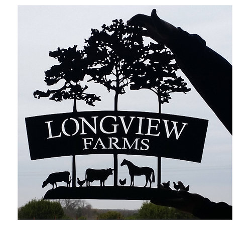 Wooded Farm Sign with Cows, Horses, and Chickens LMW-16-67