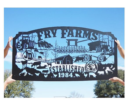 Family Metal Farm Sign, Personalized Farming Sign