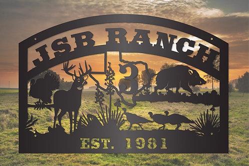 Texas Wildlife Scene with Deer, Turkey, and Pig