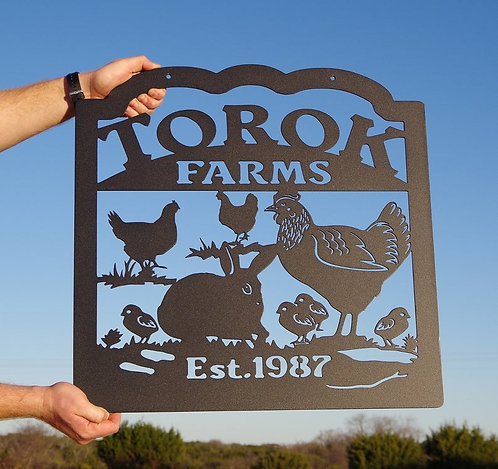 Small Farm Chicken and Rabbit Sign