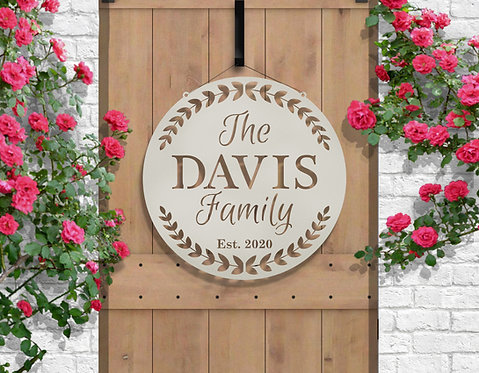 Family Established Date | Modern Front Entry Welcome Sign | Personalized Entry S