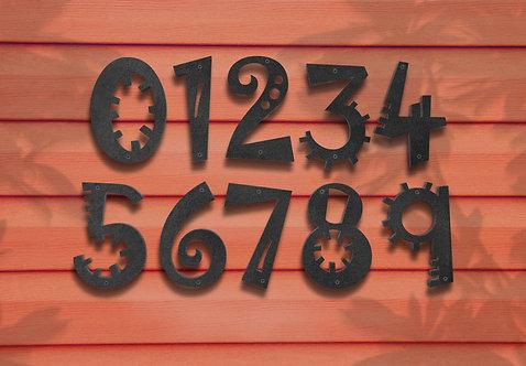 """Funky Metal Numbers, 10"""" Metal House Numbers"""