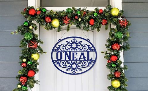 Metal Snowflake Family Name Christmas Door Hanger Decor Sign
