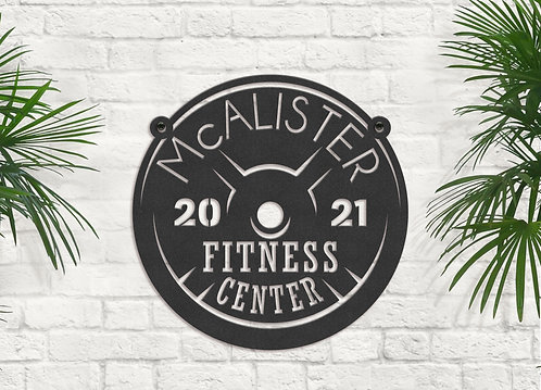 Family Fitness Center Metal Sign, Gym Owner Gift