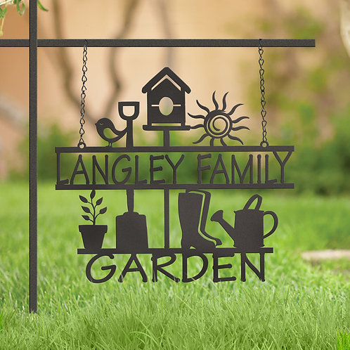 Custom Metal Family Hanging Garden Sign