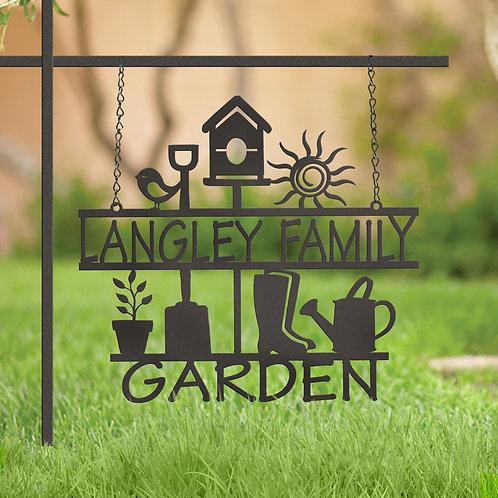 Custom Metal Family Hanging Garden Sign