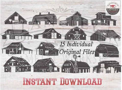 Barn Vector Instant Download Clip Art Silhouette Elements