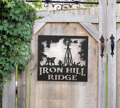 Windmill Metal Farm Sign